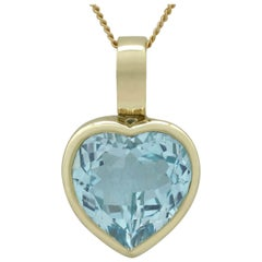 Vintage 1990s 13.50 Carat Topaz and Yellow Gold Heart Pendant