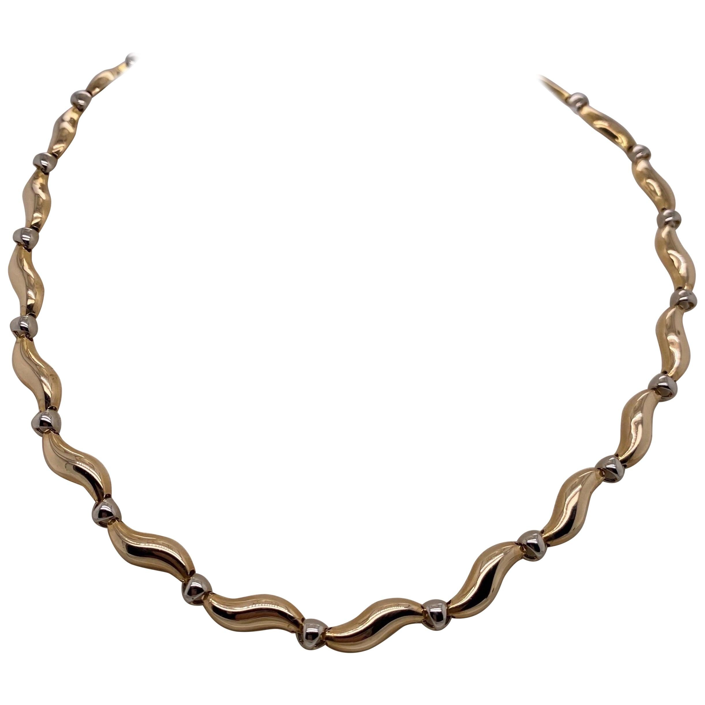 Vintage 1990s 14 Karat Yellow and White Gold S-Link Necklace