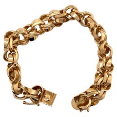 Vintage 1990s 14 Karat Yellow Gold Heavy Charm Bracelet