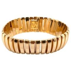 Vintage 1990s 14 Karat Yellow Gold Italian Wide Link Bracelet