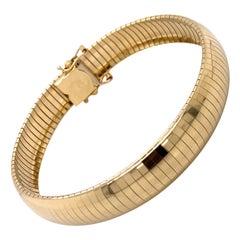 Vintage 1990s 14 Karat Yellow Gold Omega Bracelet