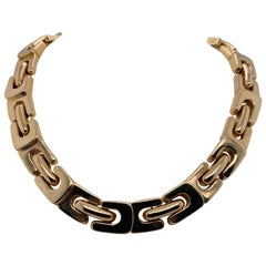 Vintage 1990s 14 Karat Yellow Gold Wide Bold Link Choker Necklace
