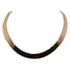 Vintage 1990s 14 Karat Yellow Gold Wide Herringbone Necklace