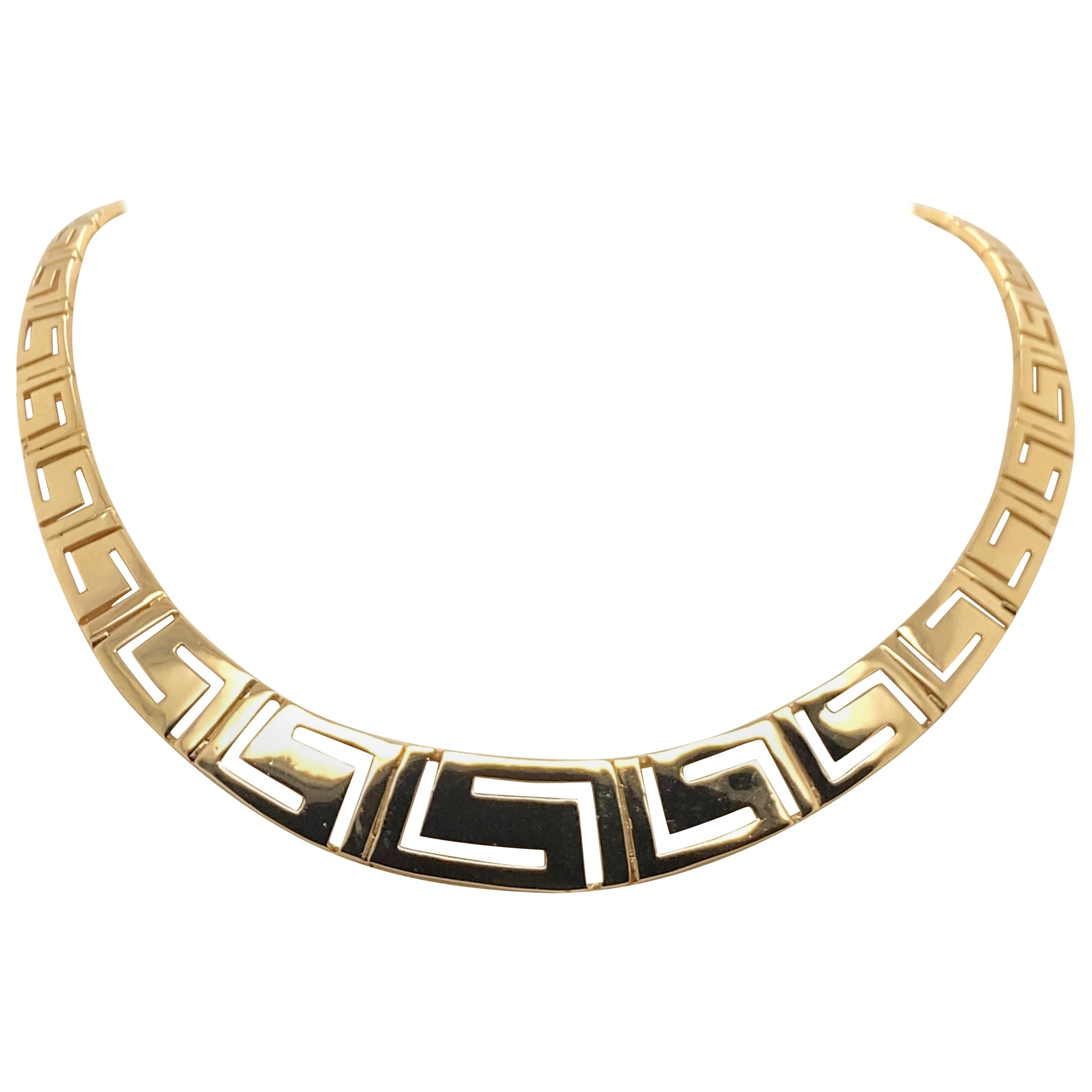Vintage 1990s 14 Karat Yellow Gold Greek Key Necklace