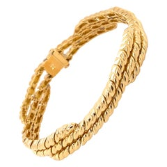 Vintage 1990's 18K Yellow Gold 2-3 Row Croissant Link Bracelet
