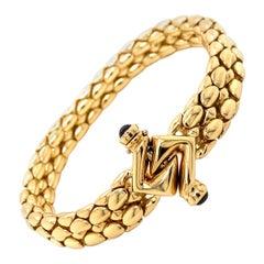 Vintage 1990's 18k Yellow Gold Italian Made Snake Skin Design Bracelet