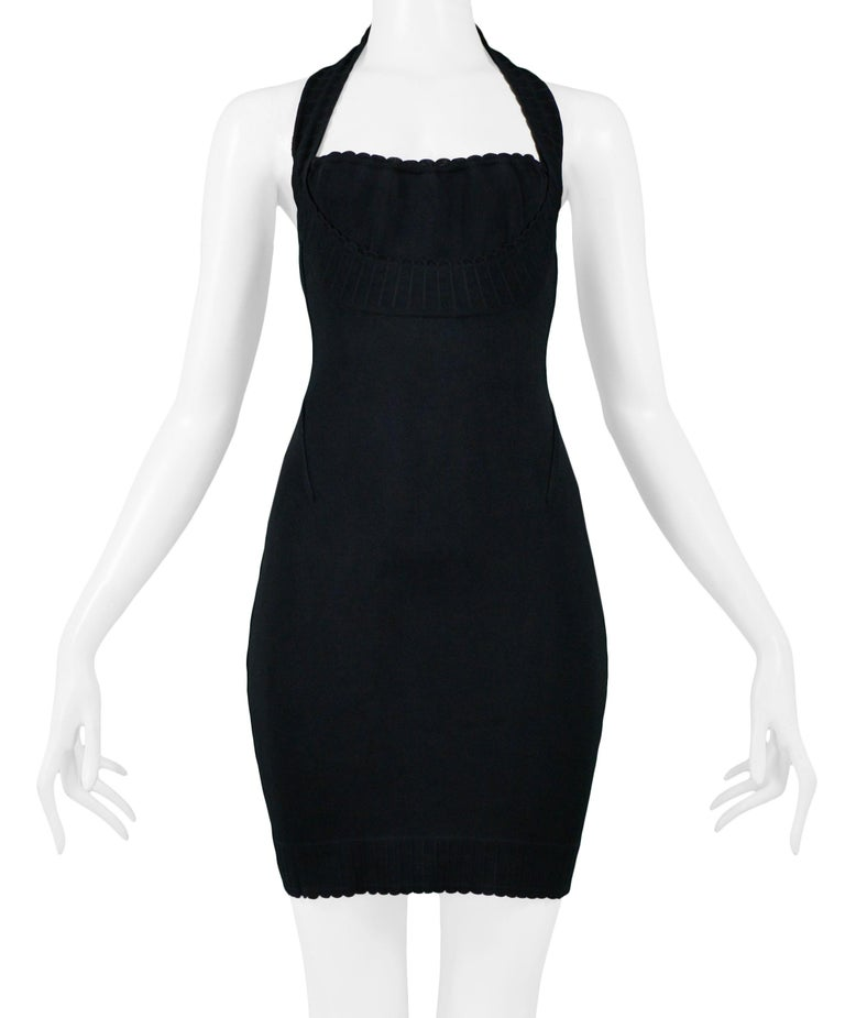 Vintage 1990s Azzedine Alaia Black Body-con Scalloped Halter Dress In Good Condition For Sale In Los Angeles, CA