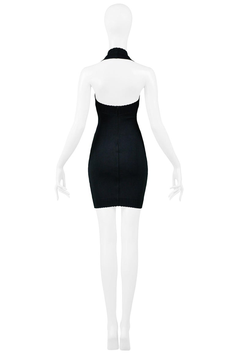 Women's Vintage 1990s Azzedine Alaia Black Body-con Scalloped Halter Dress For Sale
