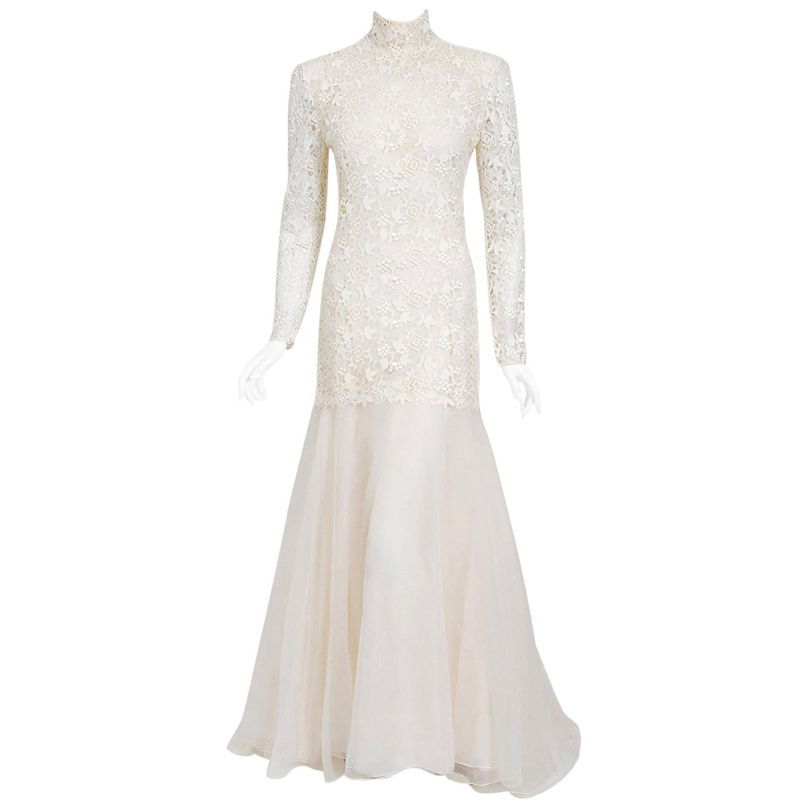 Vintage 1990's Bernard Perris Couture Ivory Lace Silk Long Sleeve Low-Back Gown