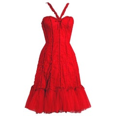 Vintage 1990's Beville Sassoon Ruby Red Sequin Tulle Sweetheart Cocktail Dress