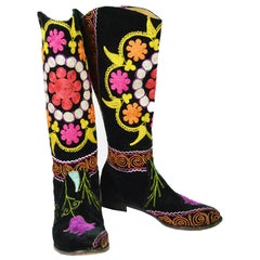 Vintage 1990s Black Velvet & Multicolored Turkish Embroidered Boho Boots