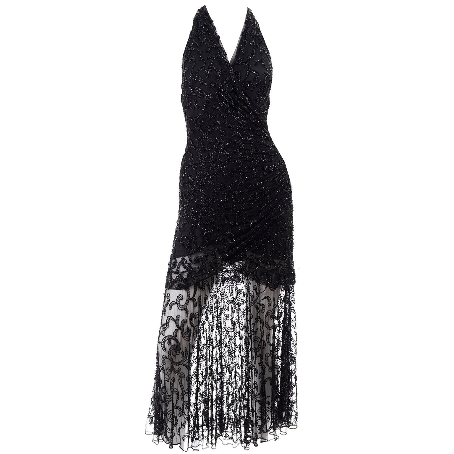 Vintage 1990s Carmen Marc Valvo Beaded Dress With Sheer Skirt
