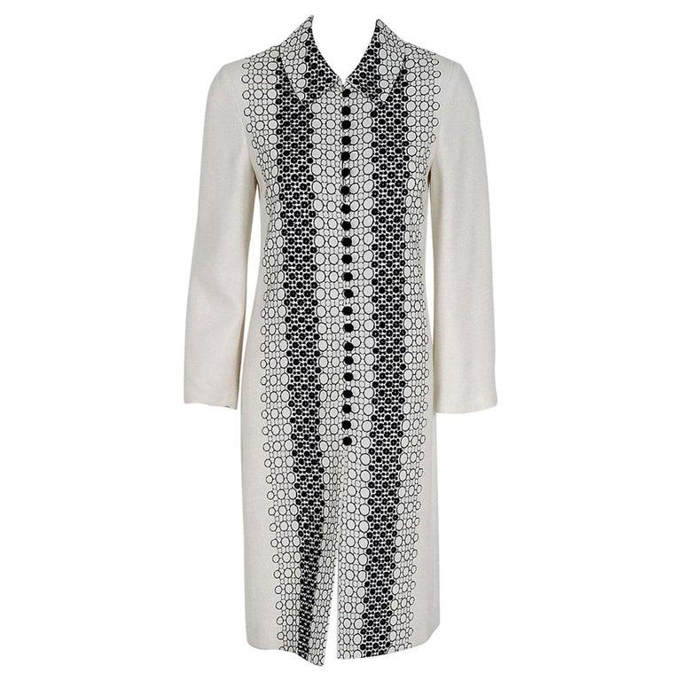 Vintage 1990's Carolina Herrera Black White Deco-Circles Embroidery Linen Jacket For Sale