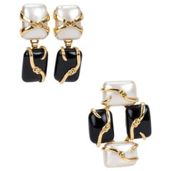 Vintage 1990's Chanel Black & Pearl Earrings Pin Set