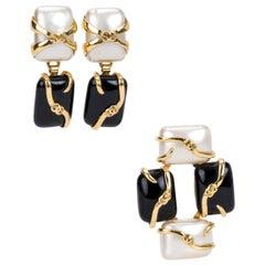 Vintage 1990's Chanel Black & Pearl Earrings Pin Set