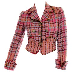 Vintage 1990s Christian Lacroix Pink Plaid Boucle Tweed Short Blazer Jacket