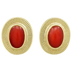 Vintage 1990s Coral and Yellow Gold Stud Earrings