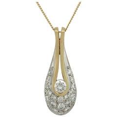 Vintage 1990s Diamond and Gold 'Teardrop' Pendant