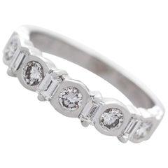 Vintage 1990s Diamond and White Gold Half Eternity Ring