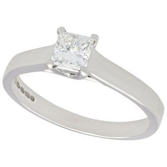 Vintage 1990s Diamond and White Gold Solitaire Ring
