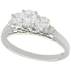 Vintage 1990s Diamond and White Gold Three-Stone Ring