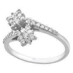 Vintage 1990s Diamond White Gold Cocktail Twist Ring