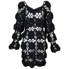 Vintage 1990's Dolce & Gabbana Sheer Black Crochet 3-D Flower Dress
