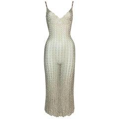 Vintage 1990's Dolce & Gabbana Sheer Champagne Knit Plunging Dress