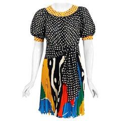 Vintage 1990's Emanuel Ungaro Paris Colorful Silk Puff-Sleeve Pleated Mini Dress