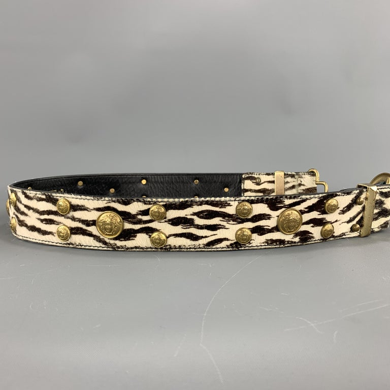 Black Vintage 1990's GIANNI VERSACE belt features a smooth black leather strap and sil For Sale