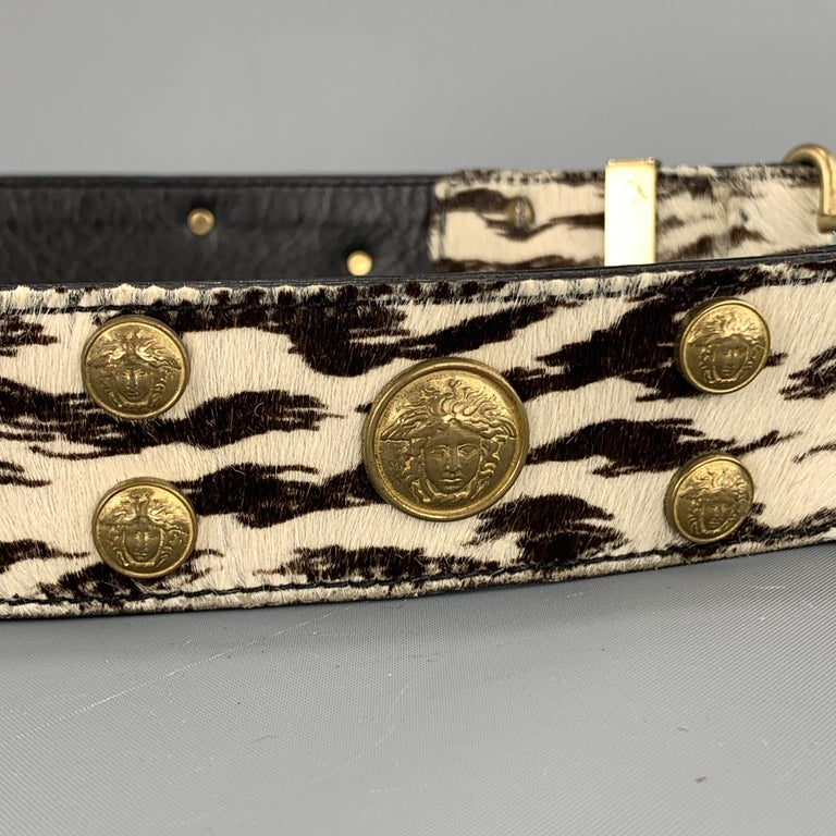 Vintage 1990's GIANNI VERSACE belt features a smooth black leather strap and sil In Good Condition For Sale In San Francisco, CA