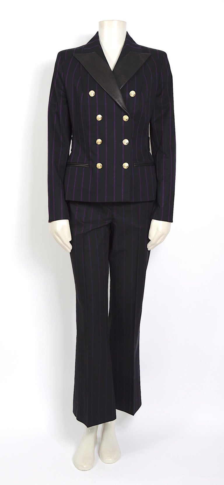 Black Vintage 1990s Gianni Versace purple striped black wool/silk & leather detail set For Sale
