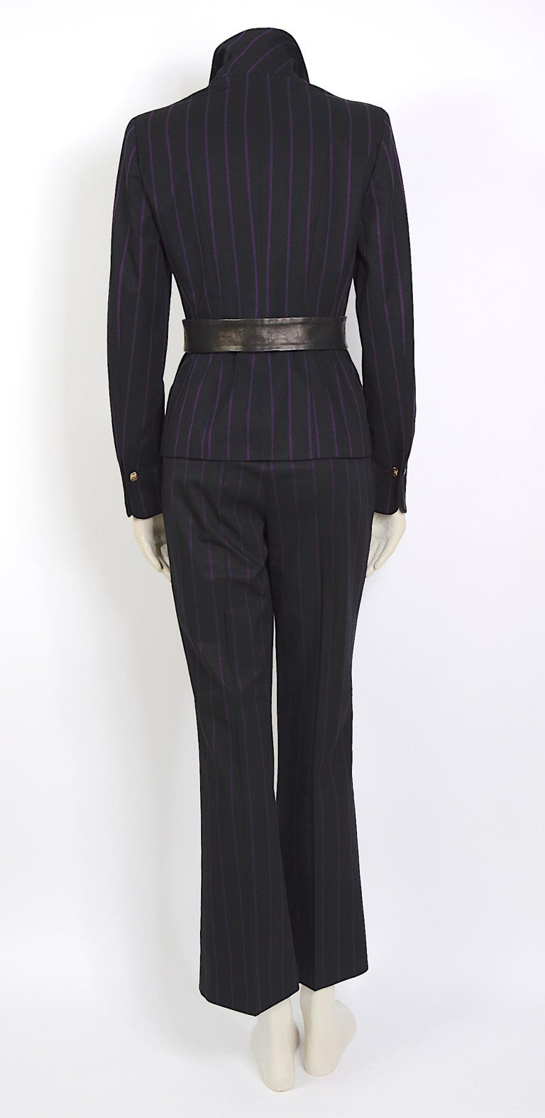 Women's Vintage 1990s Gianni Versace purple striped black wool/silk & leather detail set For Sale