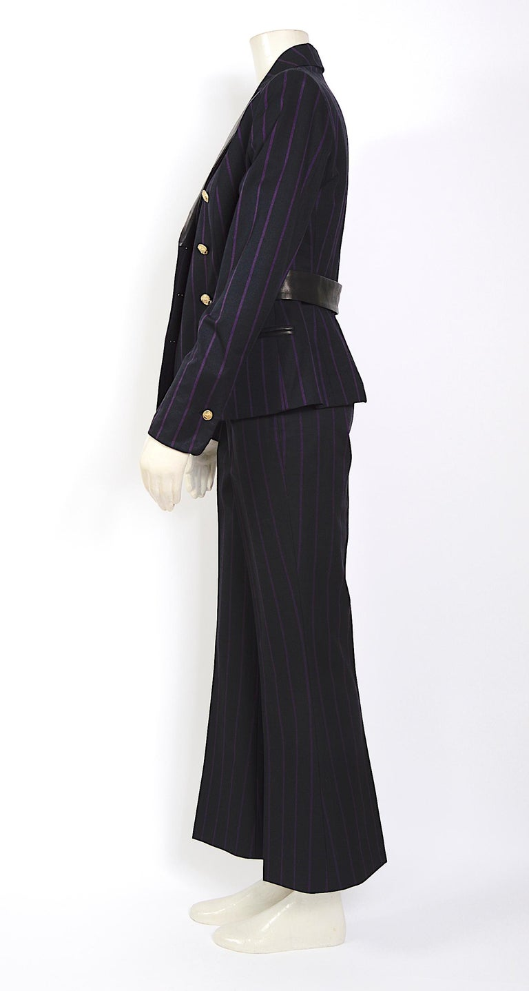 Vintage 1990s Gianni Versace purple striped black wool/silk & leather detail set For Sale 2
