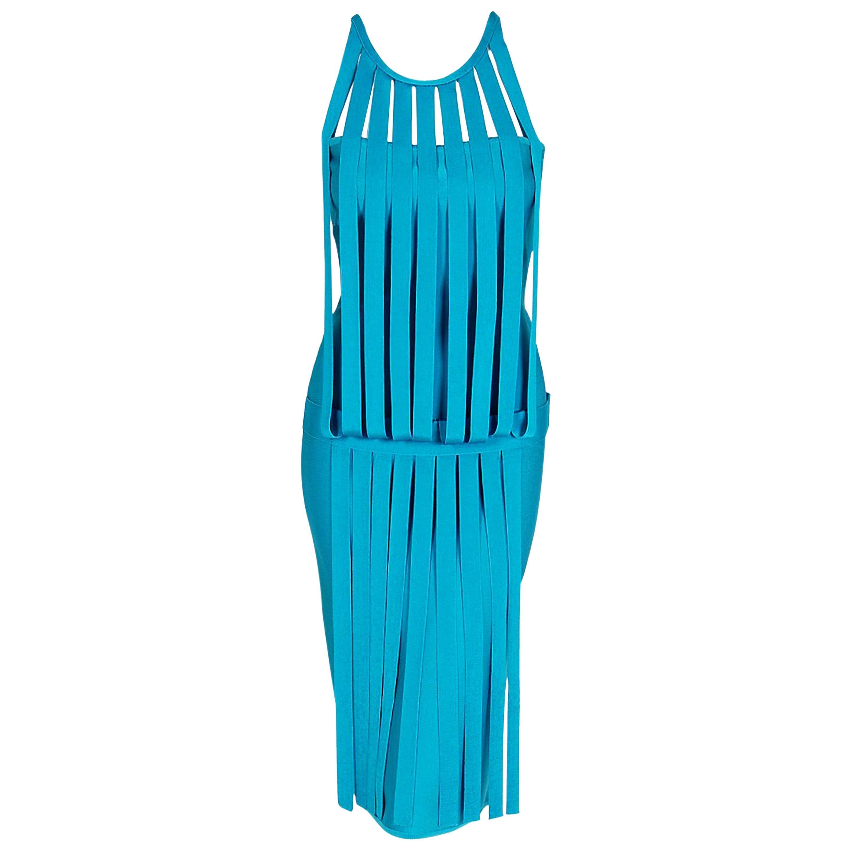 Vintage 1990's Herve Leger Runway Turquoise Blue Knit Birdcage Bodycon Dress