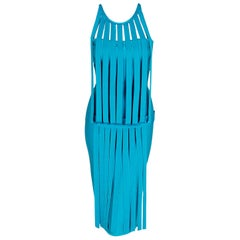 Vintage 1990's Herve Leger Runway Turquoise Blue Knit Birdcage Bodycon Dress