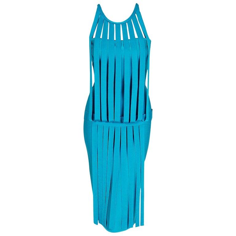 Vintage 1990's Herve Leger Runway Turquoise Blue Knit Birdcage Bodycon Dress For Sale