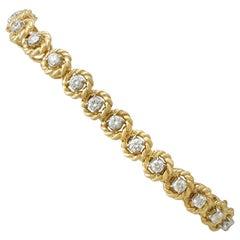 Vintage 1990s Italian 3.78 Carat Diamond Yellow Gold Bracelet