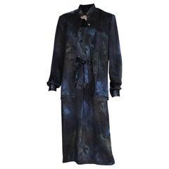 Vintage 1990s  Midnight Blue, Galaxy Print Silk Vintage Dress and Overshirt