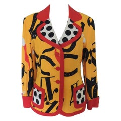 Vintage 1990s Moschino Lucky 13 Black Cat Blazer Jacket