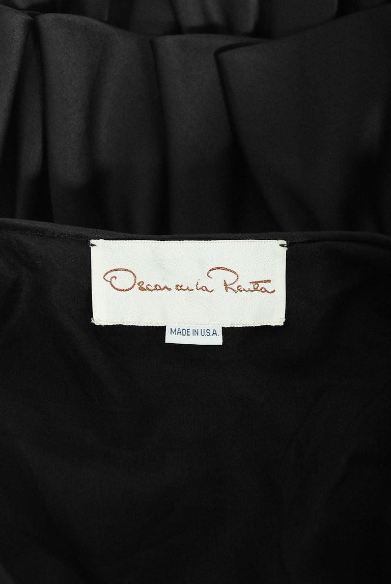 Vintage 1990's Oscar de la Renta Black Silk Tiered-Ruffle Short Sleeve Jacket For Sale 7