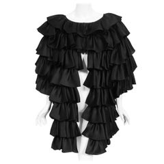 Vintage 1990's Oscar de la Renta Black Silk Tiered-Ruffle Short Sleeve Jacket