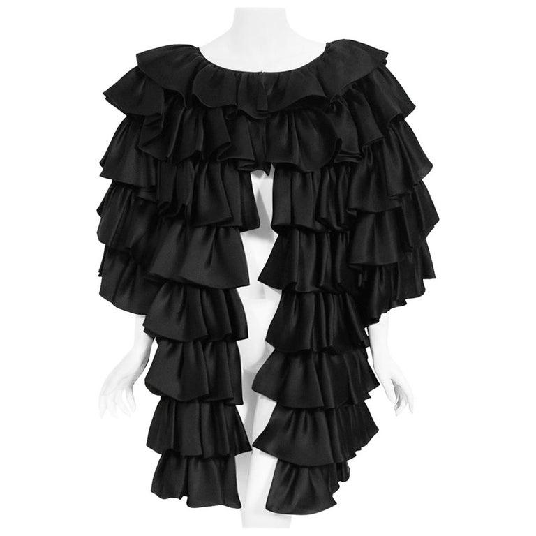 Vintage 1990's Oscar de la Renta Black Silk Tiered-Ruffle Short Sleeve Jacket For Sale