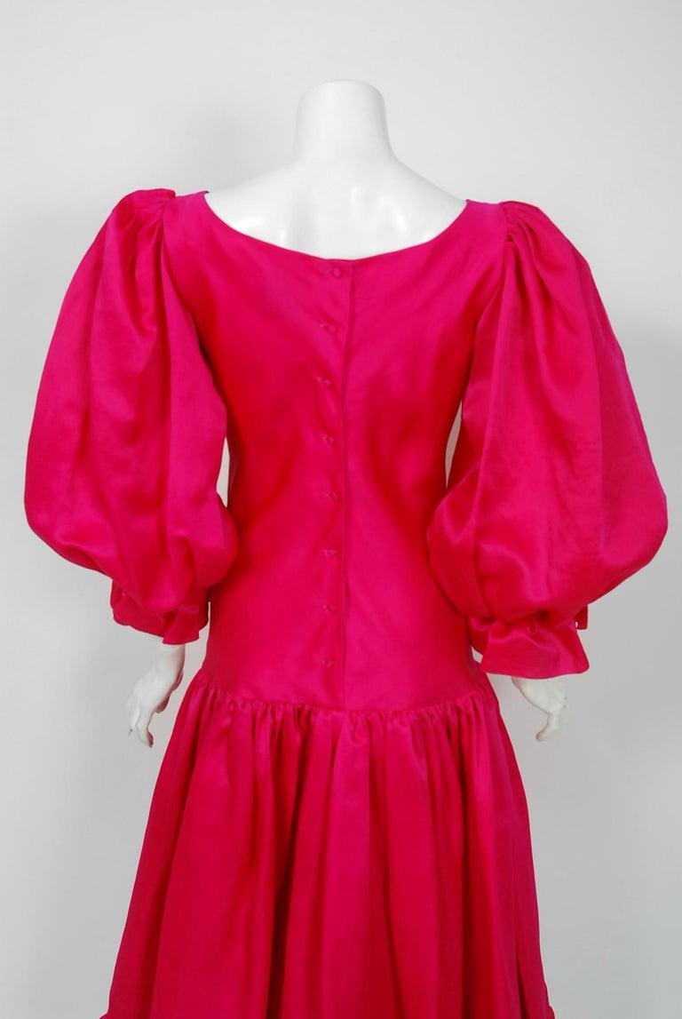 Vintage 1990's Oscar de la Renta Pink Silk Puff-Sleeve Voluminous Ruffle Dress For Sale 2