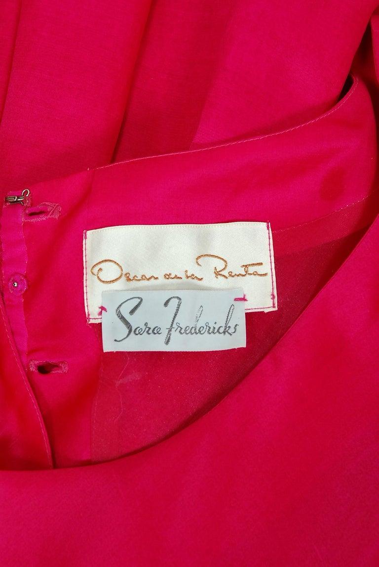 Vintage 1990's Oscar de la Renta Pink Silk Puff-Sleeve Voluminous Ruffle Dress For Sale 3