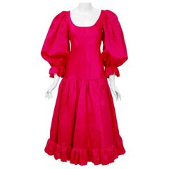 Vintage 1990's Oscar de la Renta Pink Silk Puff-Sleeve Voluminous Ruffle Dress