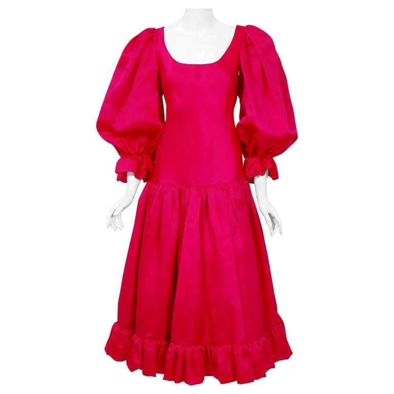 Vintage 1990's Oscar de la Renta Pink Silk Puff-Sleeve Voluminous Ruffle Dress For Sale