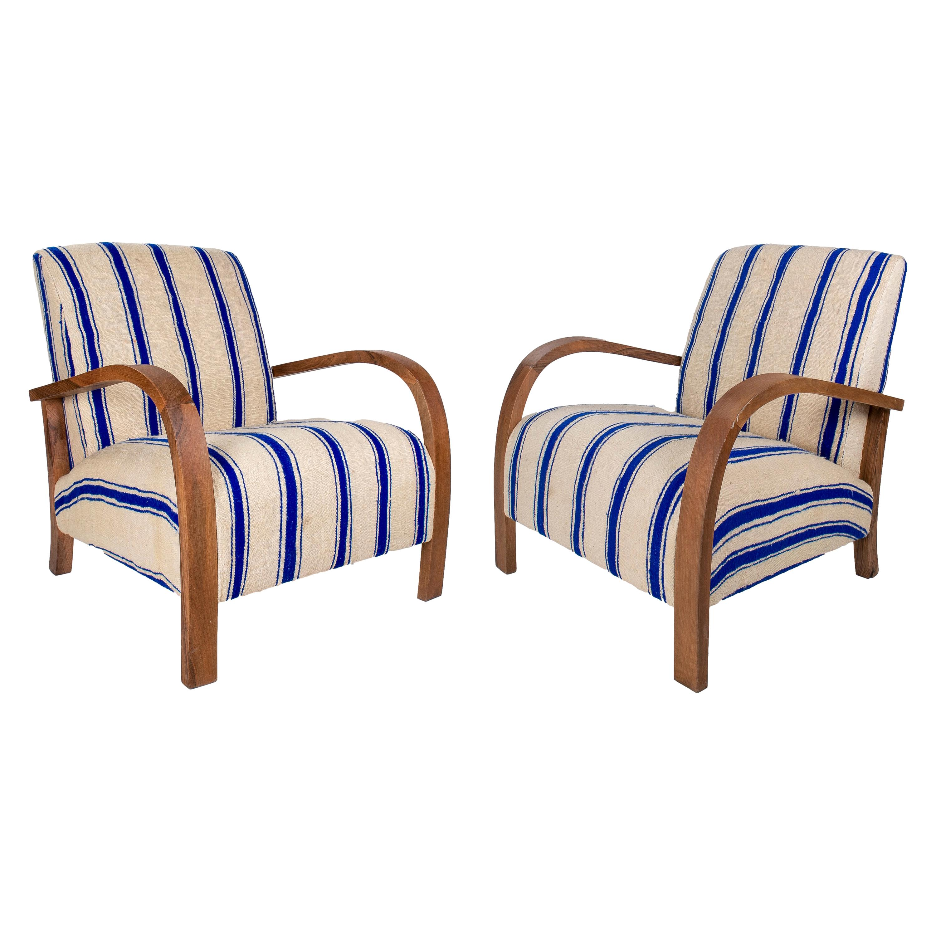 Vintage 1990s Pair of Spanish White and Blue Upholstered Armchairs