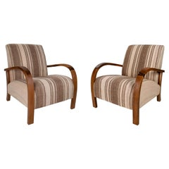 Vintage 1990s Pair of Spanish White and Brown Upholstered Armchairs