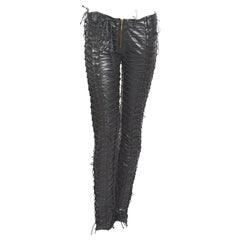 Vintage 1990s Plein Sud 100% black calfs leather laced pants